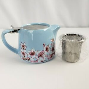 Alfred Ceramic Stainless Steel Teapot Blue Pink Floral Holds 20 Ounces
