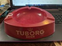 """ASHTRAY TUBORG BEER HARD RED PLASTIC MILANO MADE IN ITALY VINTAGE 8"""" Triangle"""