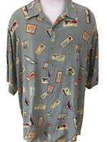 IZOD mens Hawaiian shirt size 2XL green palm tree sun pineapple rayon pocket