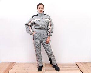 Women Grey L M Snowsuit Ski Suit Overall Sportswear Hooded Insulate VTG RA47eh