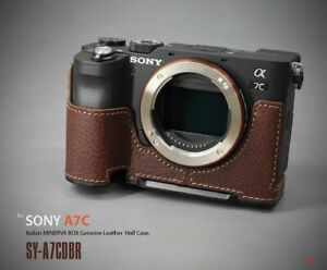 LIM'S Genuine Leather Camera Half Case & Dovetail Plate For Sony A7C Case Brown