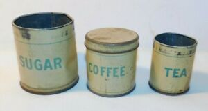 RARE old Child or Doll Sugar Coffee and Tea Miniature Toy Tin Canister Set