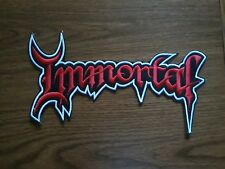 IMMORTAL,SEW ON RED WITH WHITE EDGE EMBROIDERED LARGE BACK PATCH