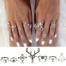 Ring Animal Lovely Rings Set Gift 7X Womens Fashion Punk Silver Knuckle