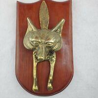Vintage Solid Brass Fox Figurine Head Door Knocker Tapper Mounted Plaque