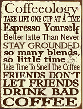 Coffeeology Metal Sign, Hot Drink, Kitchen, Restaurant, Coffee Shop Decor