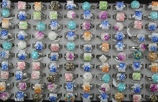 Wholesale Jewelry Lots 25pcs Resin shell Silver Plated Fashion Charm Color ring