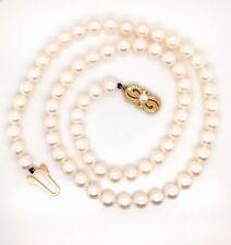 Mikimoto 18K Yellow Gold Single Strand Pearl Necklace // 887-01135 Estate