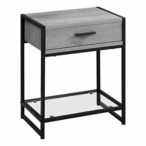 "12"" x 18"" x 22"" Grey with Black Metal  Tempered Glass  Accent Table"