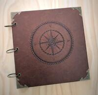 Retro Compass Wedding Guest Book, Travel Adventure Book, Scrapbook, Photo Album
