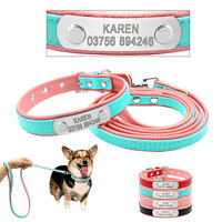 Leather Personalised Dog Collar and Leads/Leash Set ID Tags Custom Pet Collars