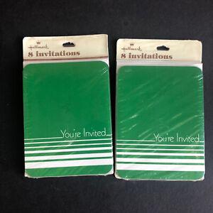 Vintage Hallmark Minimalist Green Party Invitations 2 PACKS OF 8 Sealed New