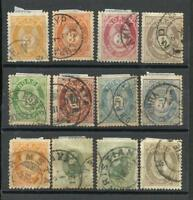 NORWAY LOT 12 OLD STAMPS, YV 23X2;18;22;24;24a;26/7;32X2; 37a,  USED NICE !!