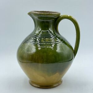 Pottery Clay Handmade Green Gradiant Yellow Pitcher Vase