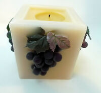 "Harry & David Purple Taupe Grape 3D Candle 3.5"" Square 3.75"" Tall"