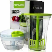 Food Chopper Hand-Powered Compact Handheld Masher w/ Measuring Container Mixing