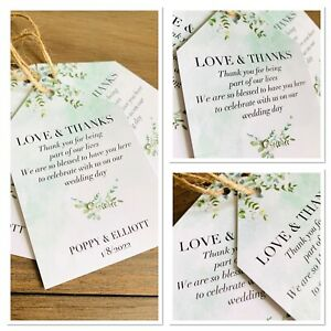 5 x Personalised Eucalyptus Greenery Wedding Gift Tags Favour Tags Thank You Tag