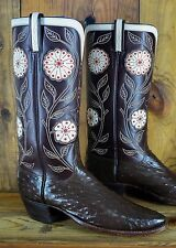 Tall Vintage LUCCHESE Full Quill Ostrich Size 10 D Men Exotic Cowboy Boots