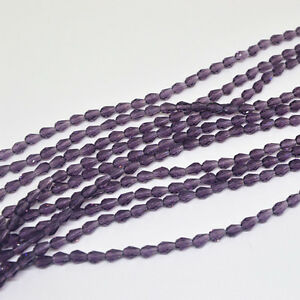 50pcs 5x3mm Purple Faceted Teardrop crystal glass Jade Spacer beads/*