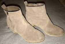 "H By Halston Ankle Boots Womens Size 9 Brown Leather 2"" Heel Zip GUC"