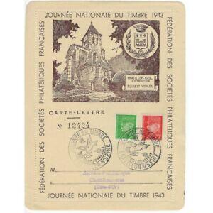 CARTE-LETTRE 12424 JOURNEE NATIONALE DU TIMBRE 1943 CHATILLON SUR SEINE 10 OCTOB