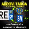 Adesivi Targa Provincia & Anno 2016 (4ant / 4post. sfondo trasparente) Auto&Moto