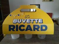 "RICARD ANISETTE : ensemble de 6 gobelets  ""la buvette RICARD"" + 6 sous bocks"