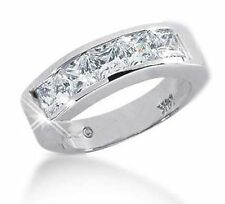 2.01 carat, 5 Princess cut Diamond Band Wedding Channel Men Platinum Ring G Vs