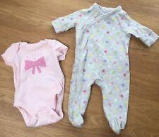 2 Gap Baby Girl Cotton Long & Short Sleeve One-Piece Babygrow Sleepsuit Newborn