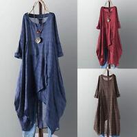 ZANZEA 8-24 Women Long Sleeve Plaid Check Tartan Kaftan Caftan Abaya Midi Dress