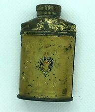 Vintage Miniature Violet Dulce Talcum Powder Tin Bottle Sample Harmony of Boston