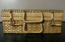 Vintage Suitcase Style Picnic / Decorative storage basket - Woven Wicker Rattan