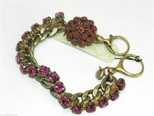 Fossil Crystal Chain Bracelet Goldtone Pink Red New! NWT