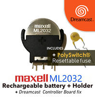 Maxell ML2032 + Battery Holder + Resettable fuse Dreamcast Controller Port Fix