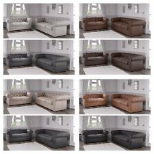 Chesterfield Sofa in Soft Arizona PU Leather Fabric 3 + 2 + 1 Seater Suite