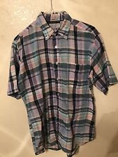 Wedgefield vintage shirt Medium blue button-down collared long sleeve patterned