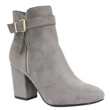 Ladies Chelsea Ankle Boots Womens Mid High Block Heels Buckle Booties Shoes Size