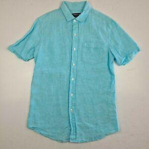 Men's Claiborne Linen Shirt Size S Slim Fit Button Up Blue - H1L