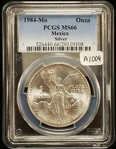 1984-Mo Mexico 1 Onza 1 oz .999 Silver Libertad Coin - PCGS MS 66 - SKU-A1009
