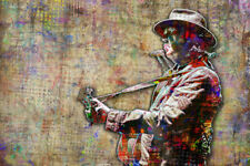 Neil Young Pop Art Poster, Neil Young tribute Pop Art 12x18in Free Shipping US