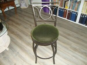 PAIR UPHOLSTERED BAR STOOLS, WROUGHT IRON WITH SWIVEL SEAT