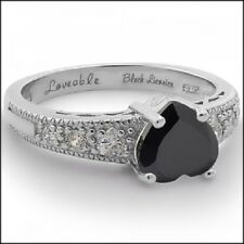 SHINY CANDY RING, Lovable Black Licorice, Black Heart, White Gold Plated, 925