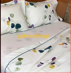 Yves Delorme Queen Fitted Sheet Pavot Poppy Floral White Black Cotton Percale