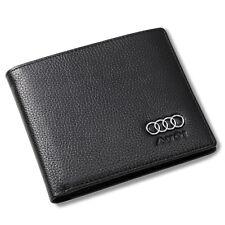 Audi Bifold Wallet Black Genuine Leather with 6 Credit Card ID Holder Men Car