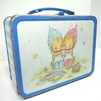 1975 Hallmark Precious Moments Metal Lunch Box Set with thermos