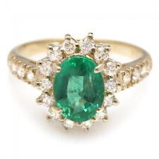 2.50Ct Natural Emerald & Diamond 14K Solid Yellow Gold Ring