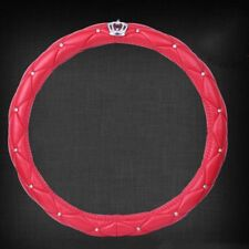 Red Steering Wheel Cover Rhinestone Crystal Diamond Crown PU Leather 38CM