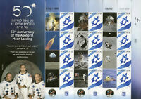 Israel Stamps 2019 MNH Apollo 11 Moon Landing 50th Anniv Space 12v M/S