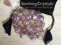 Amethyst Runes Set for reiki healing with stylish pouch rune set