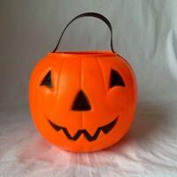 Halloween Blow Mold JOL Pumpkin Candy Pail Bucket Empire orange 1980 Vintage
